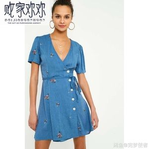 Urbana outfitters embroidered cotton dress